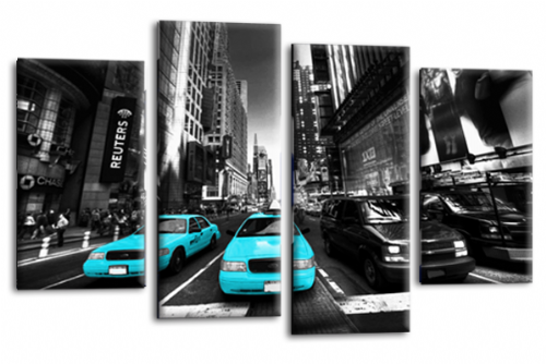 NEW YORK TAXI WALL ART TURQUOISE WHITE GREY CITY SPLIT CANVAS 4 PANEL